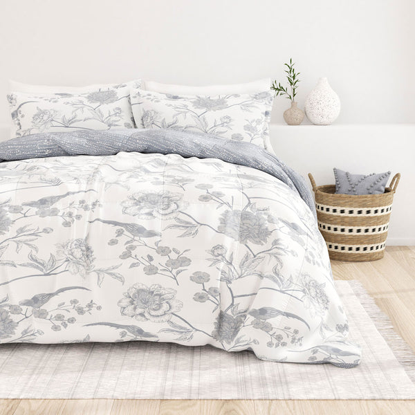 Light Blue, Molly Botanicals Reversible Down-Alternative Comforter Set, C2 Image
