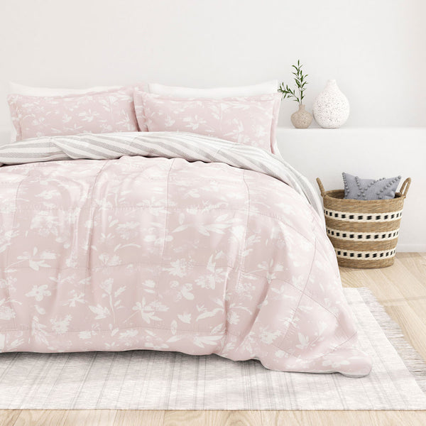 Pink, Pressed Flowers Reversible Down-Alternative Comforter Set, C2 Image