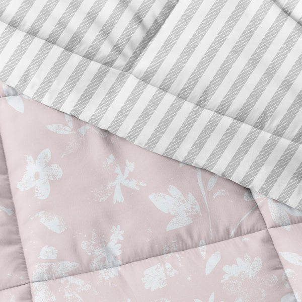 Pink, Pressed Flowers Reversible Down-Alternative Comforter Set, C3A Image