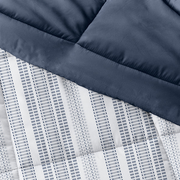 Navy, Farmhouse Dreams Reversible Down-Alternative Comforter Set, C3A Image