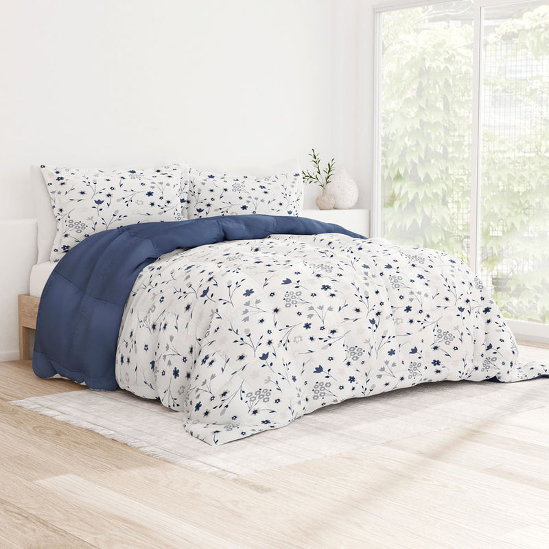 Navy, Forget Me Not Reversible Down-Alternative Comforter Set, C1 Image