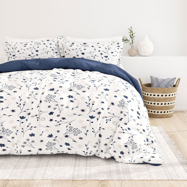 Navy, Forget Me Not Reversible Down-Alternative Comforter Set, C2 Image