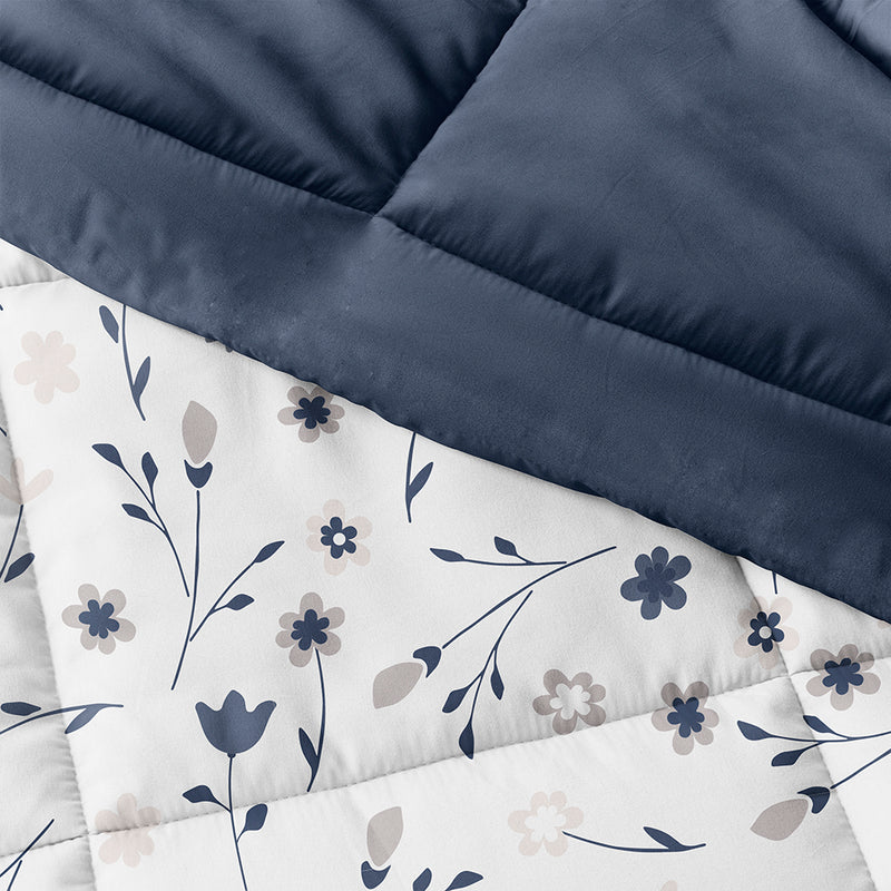 Navy, Forget Me Not Reversible Down-Alternative Comforter Set, C3A Image