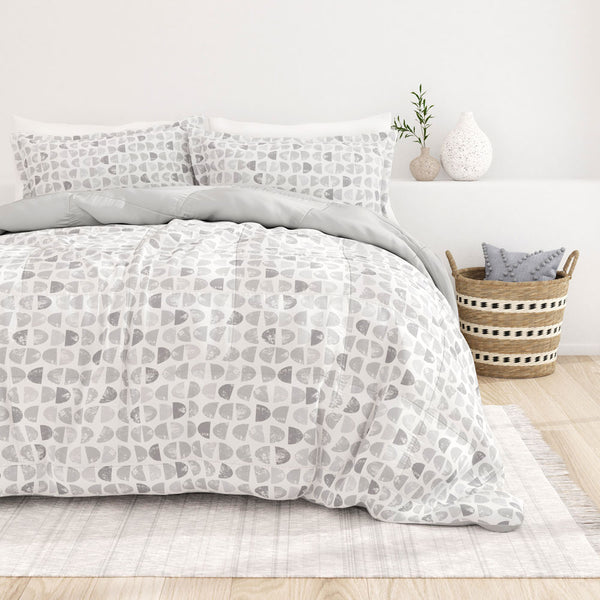 Light Gray, Moonlight Stars Reversible Down-Alternative Comforter Set, C2 Image