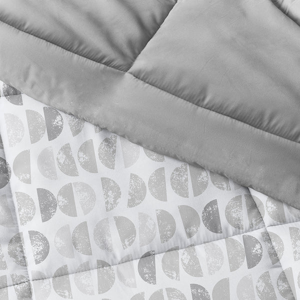 Light Gray, Moonlight Stars Reversible Down-Alternative Comforter Set, C3A Image