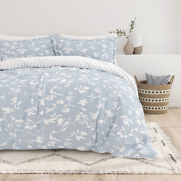 Light Blue, Country Home Pattern 3-Piece Reversible Duvet Cover Set, C2 Image