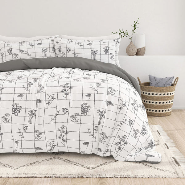 Gray, Flower Field Pattern 3-Piece Reversible Duvet Cover Set, C2 Image