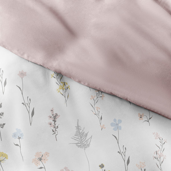 Pink, Wild Flower Pattern 3-Piece Reversible Duvet Cover Set, C3A Image