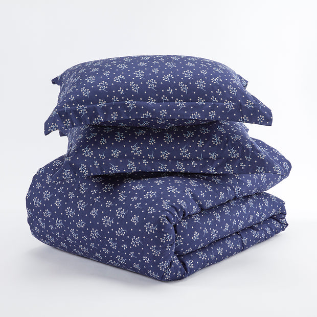 Midnight Blossoms Patterned 3-Piece Duvet Cover Set