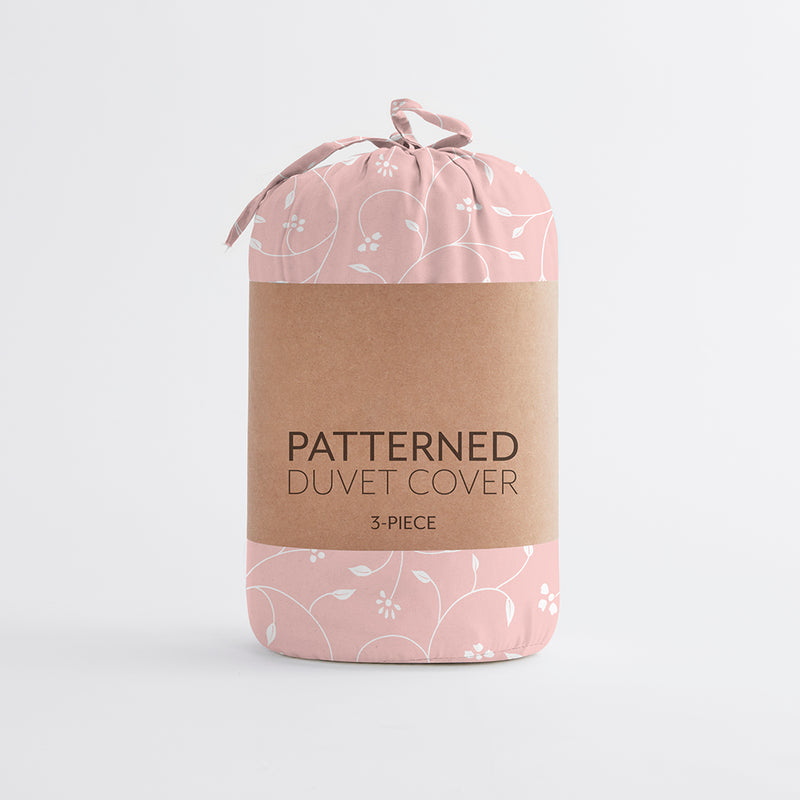 Pink Buds Patterned 3-Piece Duvet Cover Set