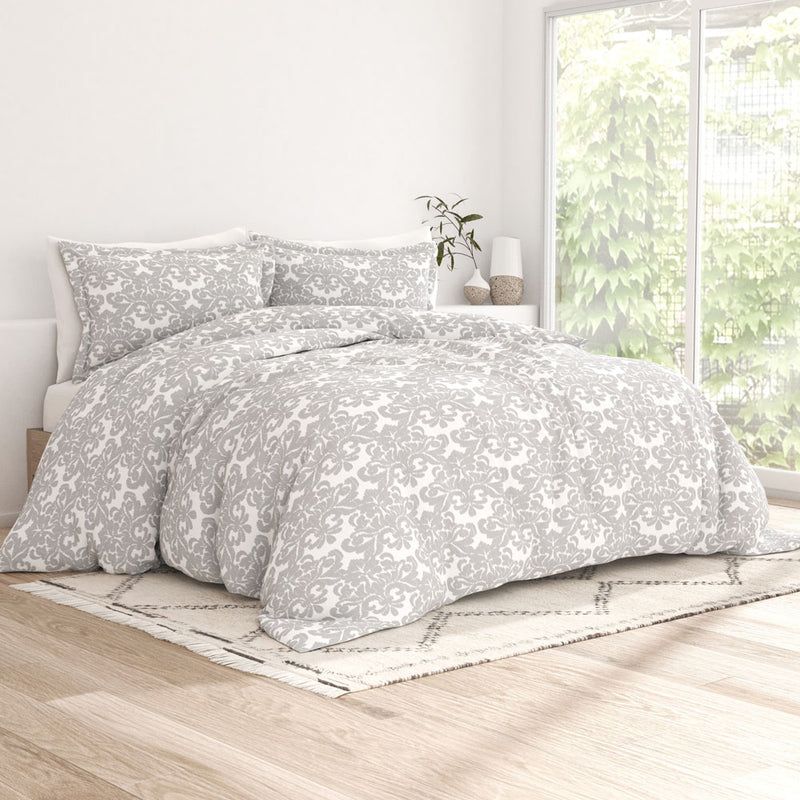 Light Gray, Damask Pattern 3-Piece Duvet Cover Set, C1 Image