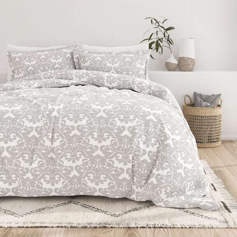 Light Gray, Damask Pattern 3-Piece Duvet Cover Set, C2 Image
