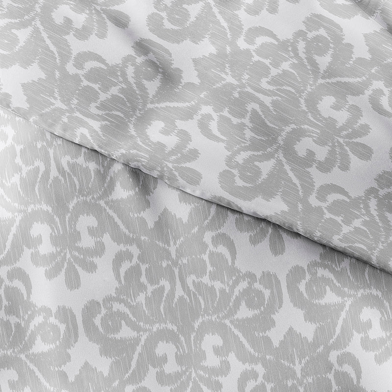 Light Gray, Damask Pattern 3-Piece Duvet Cover Set, C3A Image