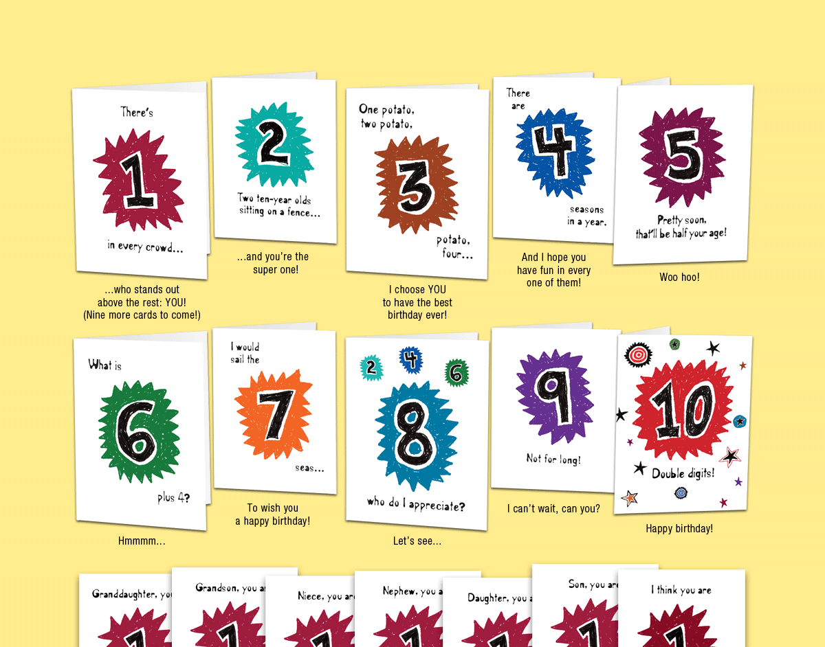 Age 10: Set of ten unique birthday cards that 'count-up' to a boy's or girl's 10th birthday.
