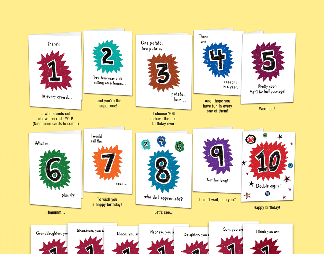 Age 10: Set of ten unique birthday cards that 'count-up' to a boy's or girl's 10th birthday. - Can't Wait Cards, Inc.