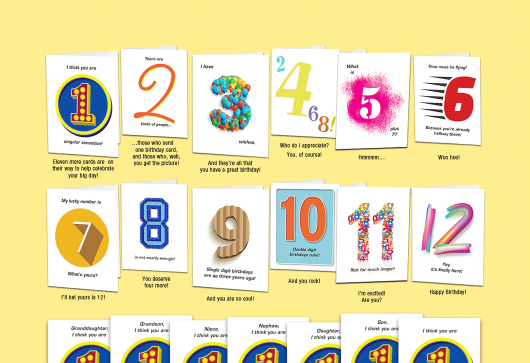 Age 12: Set of twelve unique birthday cards that 'count-up' to a boy's or girl's 12th birthday.