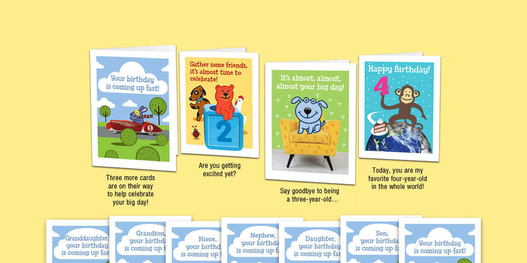 Age 4a: NEW! Set of four unique birthday cards that 'count-up' to a boy's or girl's 4th birthday.