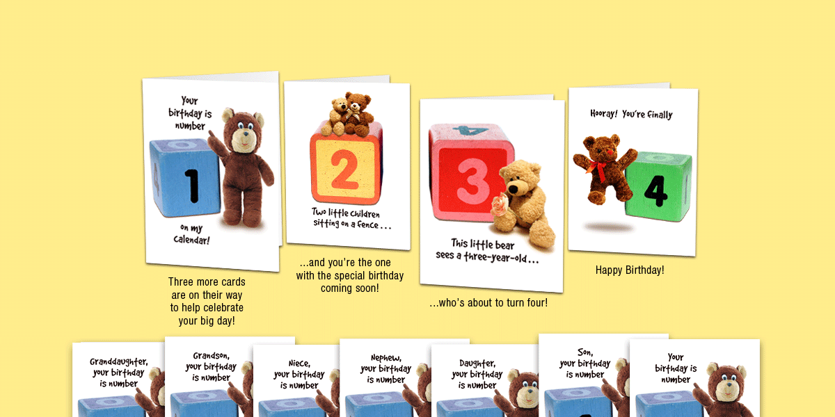 Age 4: Set of four unique birthday cards that 'count-up' to a boy's or girl's 4th birthday.