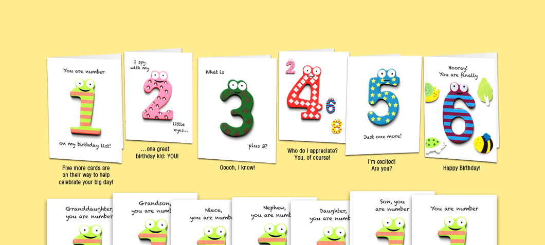 Age 6: Set of six unique birthday cards that 'count-up' to a boy's or girl's 6th birthday.