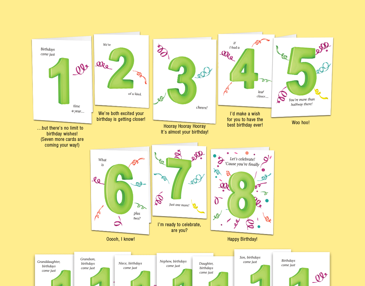 Age 8: Set of eight unique birthday cards that 'count-up' to a boy's or girl's 8th birthday.