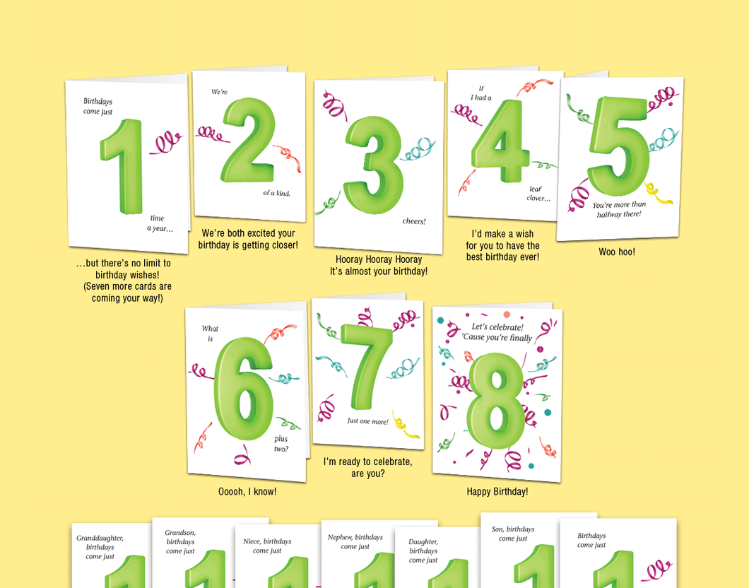 Age 8: Set of eight unique birthday cards that 'count-up' to a boy's or girl's 8th birthday. - Can't Wait Cards, Inc.