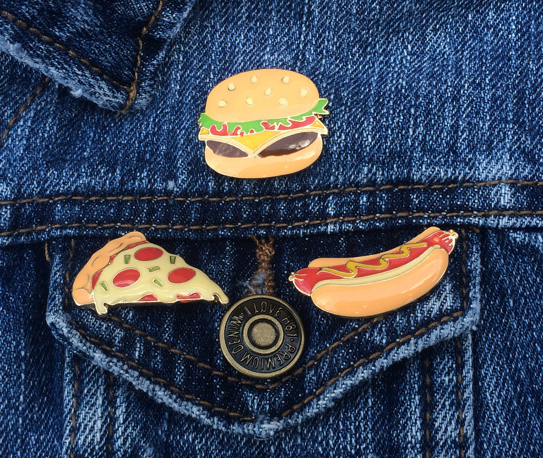 Fast Food Enamel Pin Set, Set of 3 Enamel Pins, Lapel Pins, Backpack