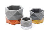 Concrete Geometric Planter: Silver Large