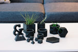 Concrete Geometric Planter: Carbon Black Small
