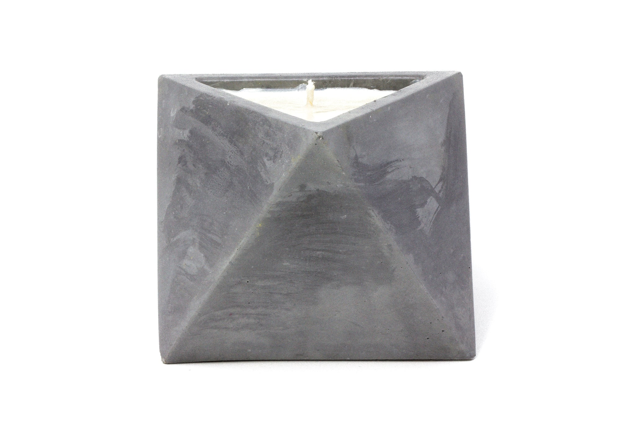 Concrete Octahedron Soy Candle: Christmas Hearth