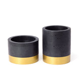 Concrete Short Cylinder Planter: Black & Gold