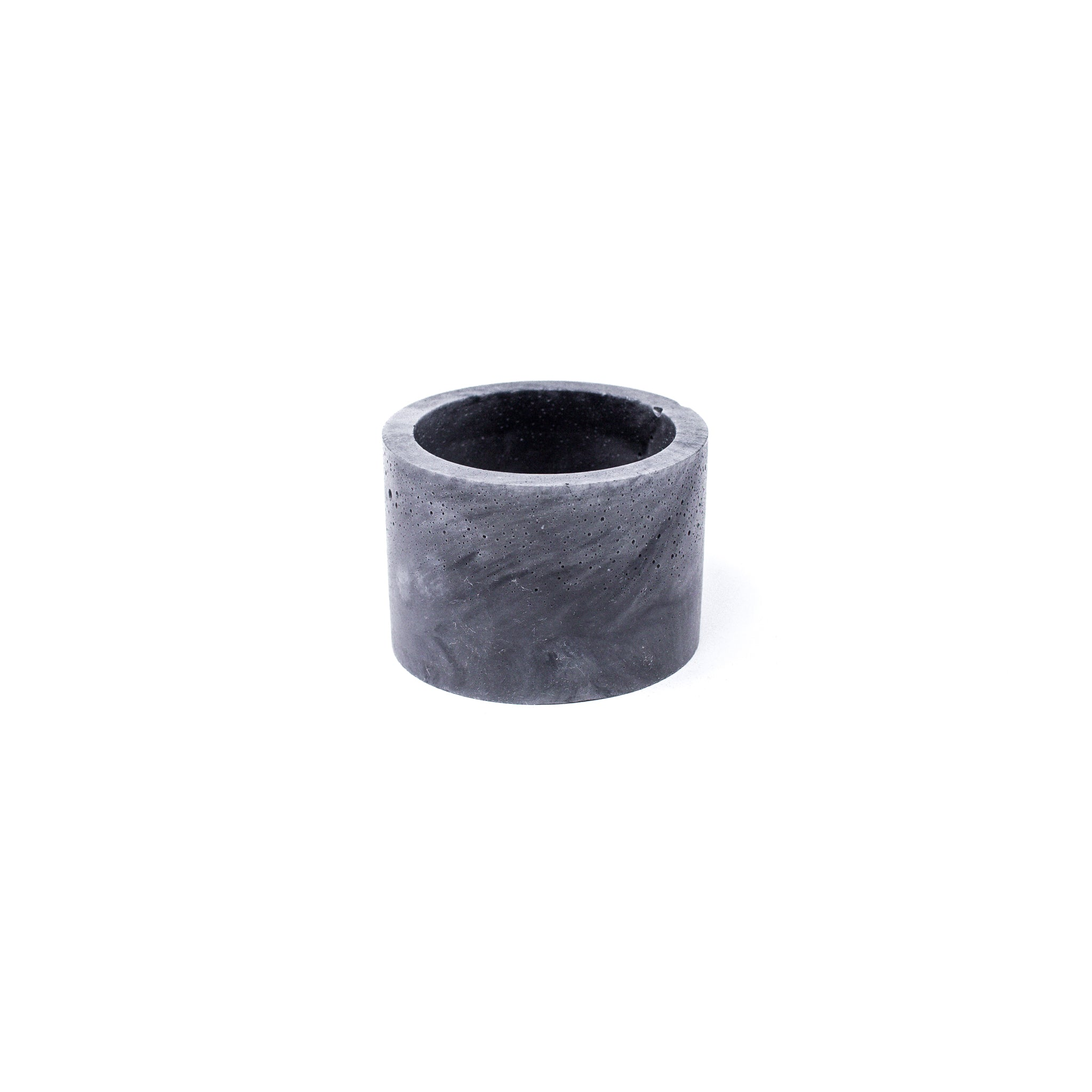 Concrete Planter: Short Cylinder (Dark Gray Marbled)