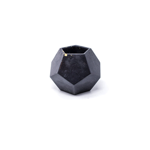 Concrete Dodecahedron Planter (Black w/ Yellow Flakes)