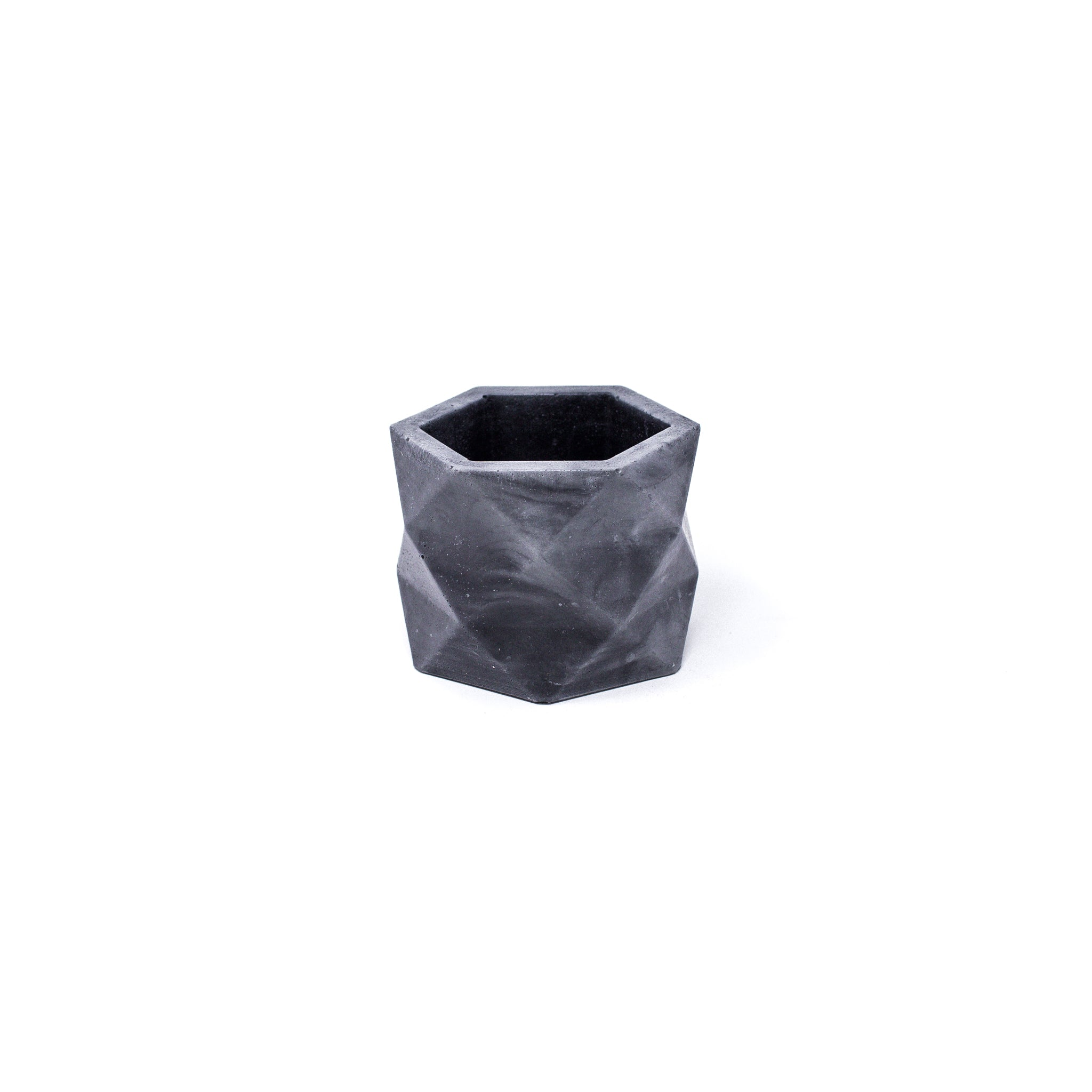 Concrete Geometric Planter: Medium (Black Marbled)