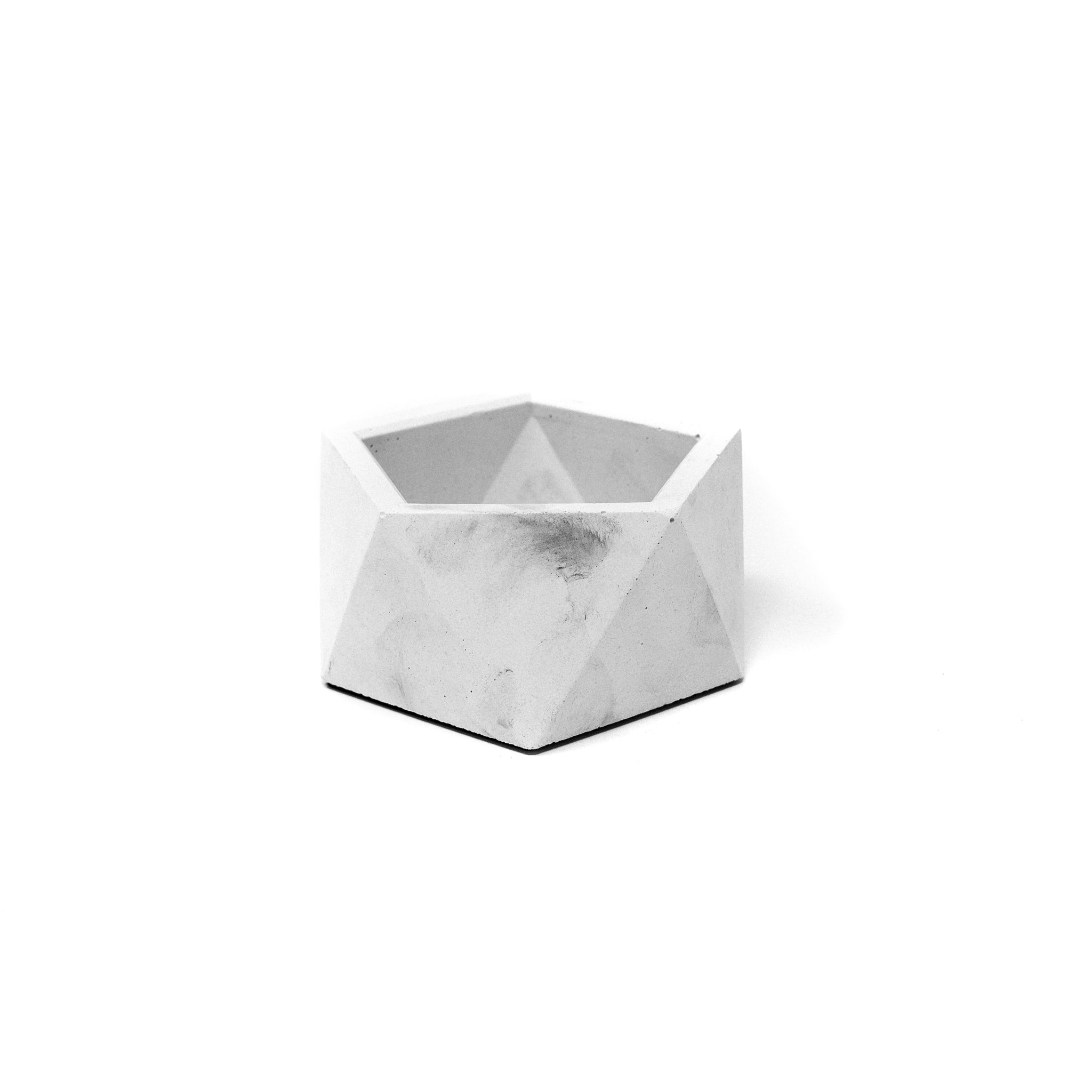 Concrete Icosahedron Planter: Small (Light Gray)