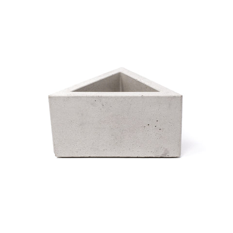 Concrete Triangular Prism Planter (Light Gray)