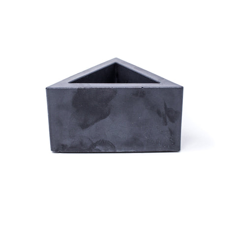 Concrete Triangular Prism Planter (Black Marbled)