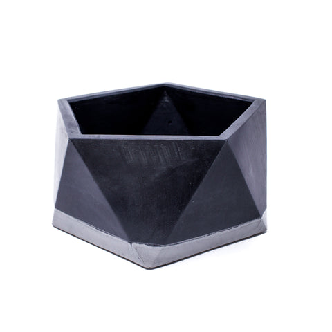 Concrete Icosahedron Planter: X-Large (Two Tone)