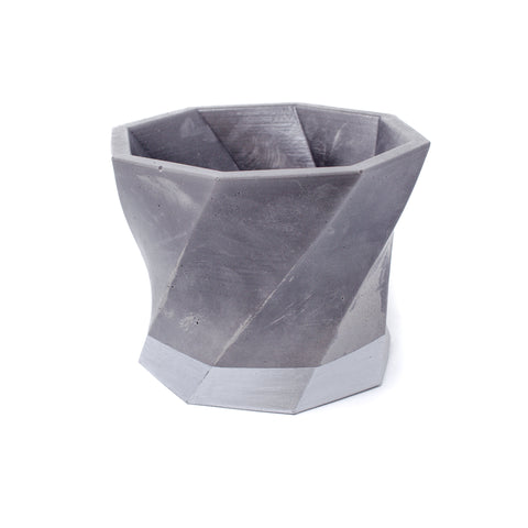 Concrete Twisted Octagon Planter (Gray & Silver Marbled)