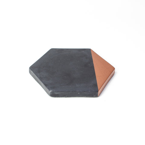 Concrete Hexagon Coaster: Black & Bronze