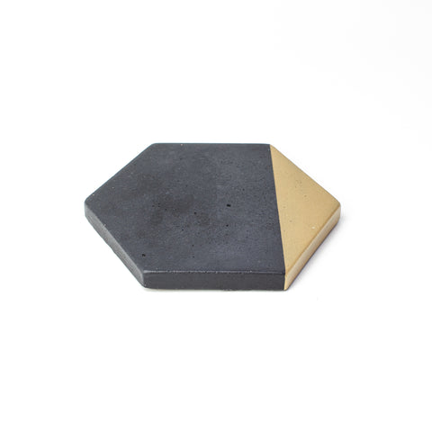 Concrete Hexagon Coaster: Black & Gold