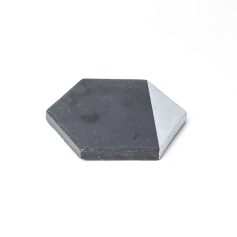 Concrete Hexagon Coaster: Black & Silver