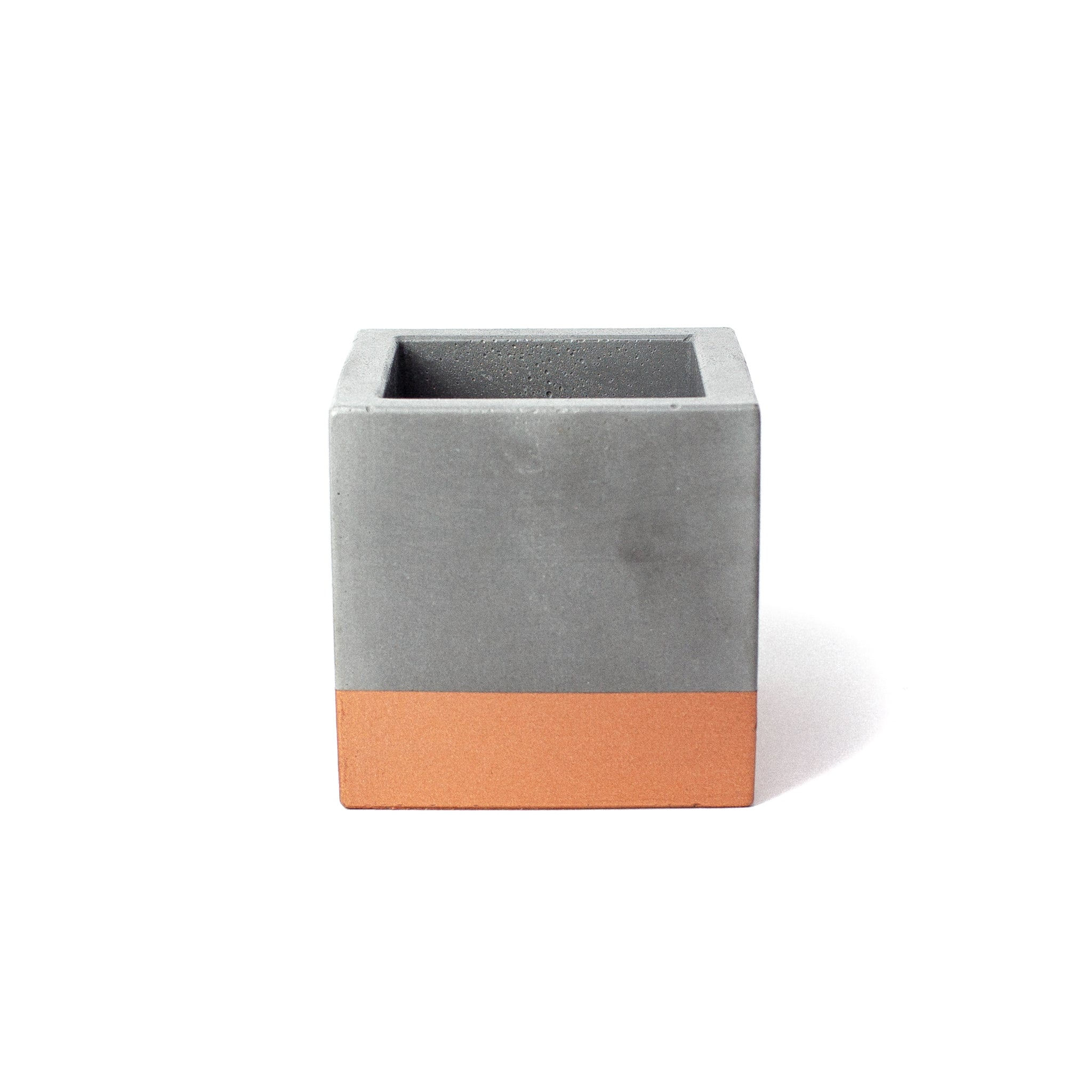 Concrete Cube Planter: Bronze