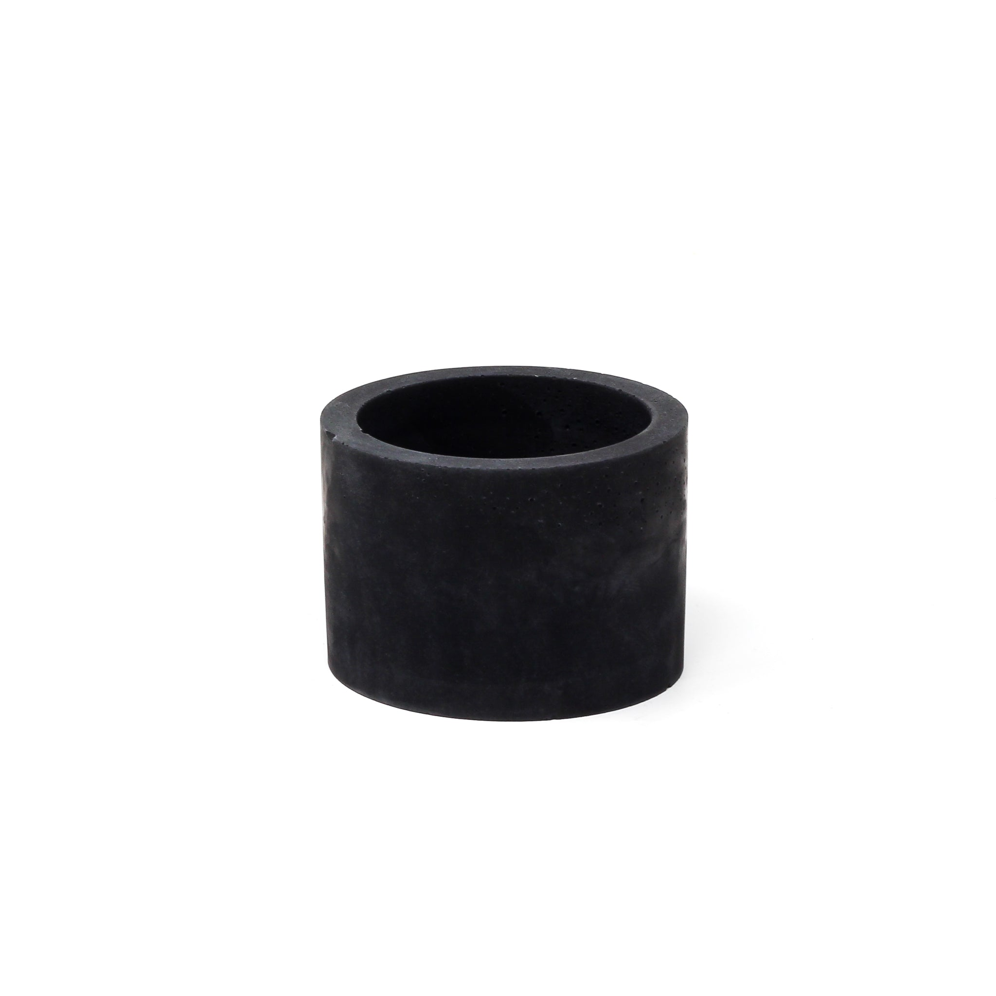 Concrete Planter: Carbon Black Short Cylinder