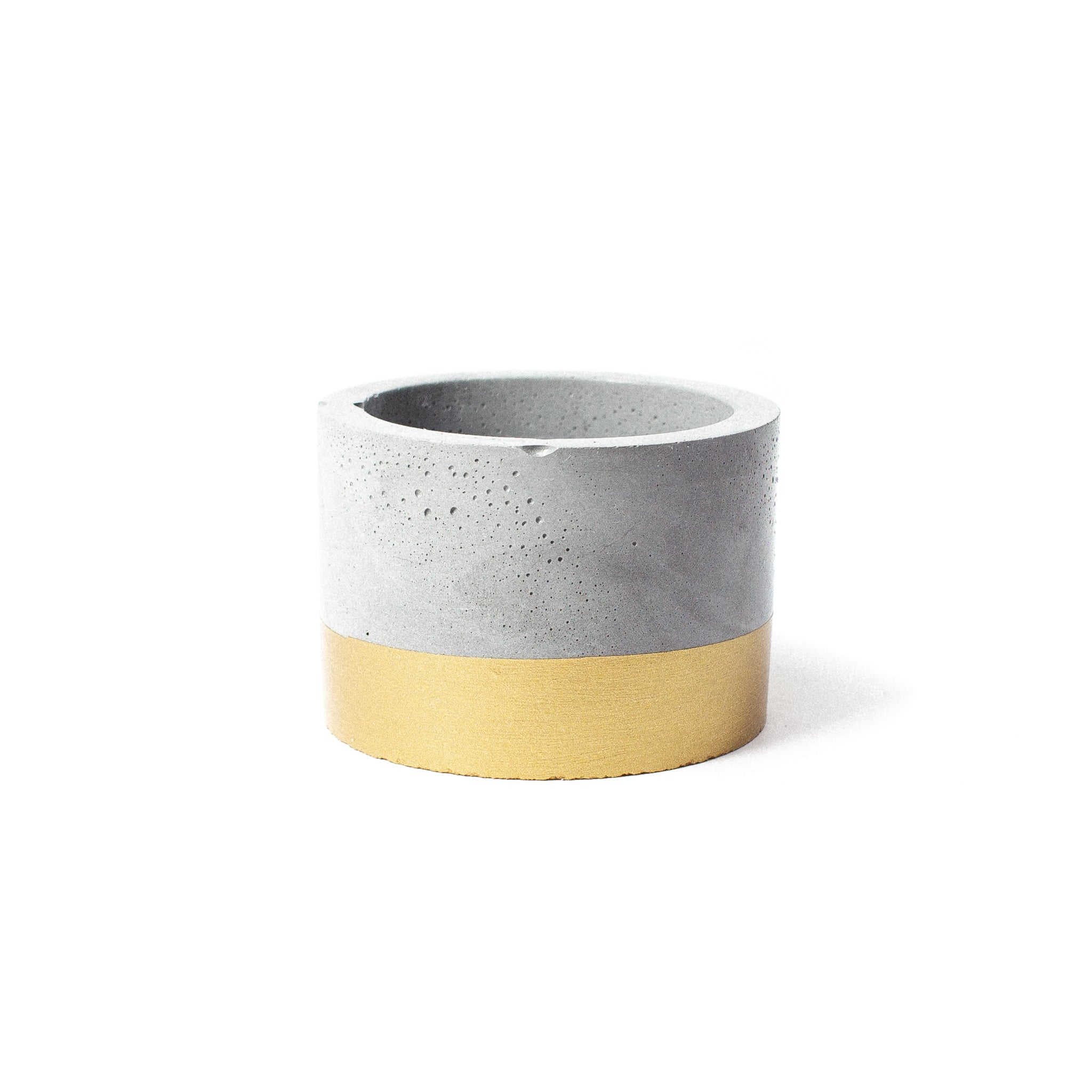 Concrete Planter: Gold Short Cylinder