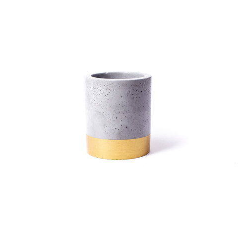Concrete Planter: Gold Tall Cylinder