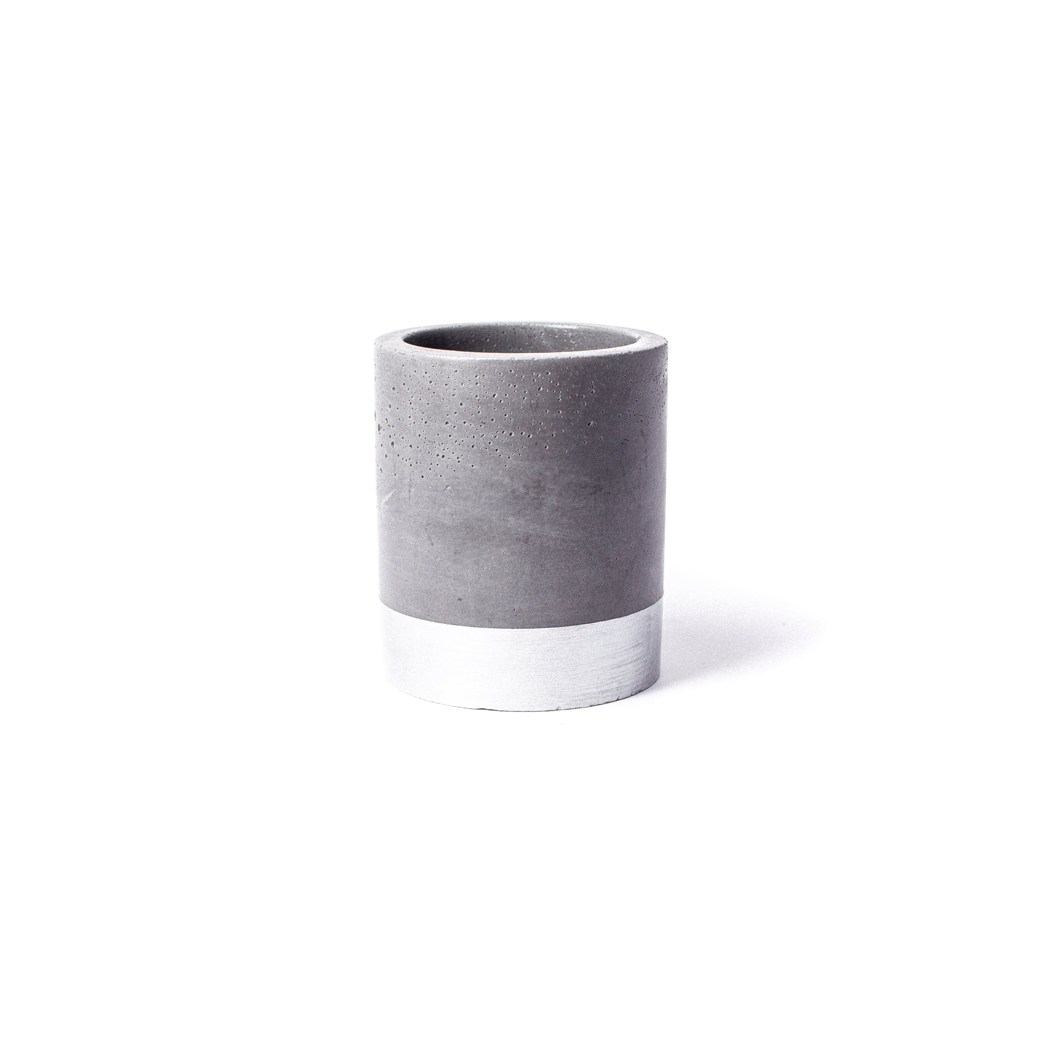 Concrete Planter: Silver Tall Cylinder
