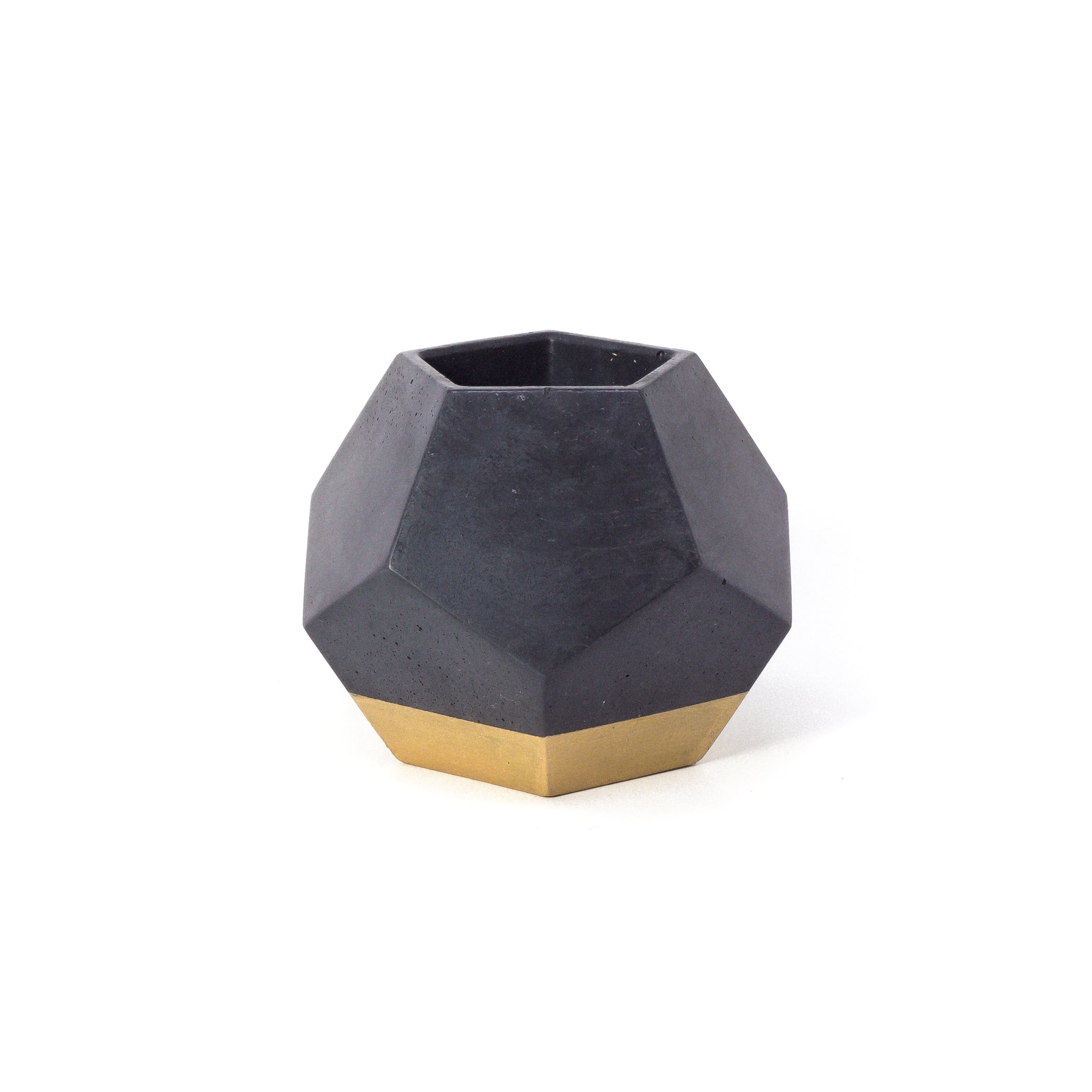 Concrete Dodecahedron Planter: Black & Gold