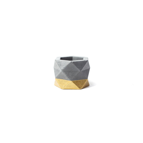 Concrete Geometric Planter: Gold Small