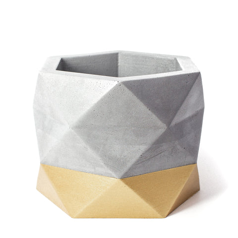 Concrete Geometric Planter: Gold X-Large