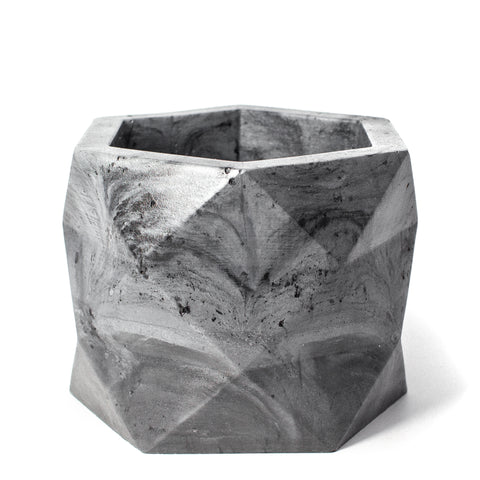 Concrete Geometric Planter: Marbled Black X-Large